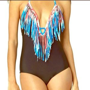Red white and blue fringe one piece